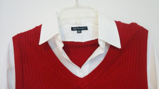 By Design White Casual Layered Sweater Knit Collar Long Sleeve Small Top Red