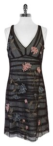 BCBGMAXAZRIA short dress Brown Striped Mesh Floral on Tradesy