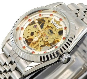 MCE Crystal Surface Automatic Skeleton Watch With White Face-FREE SHIPPING 1/2 PRICE