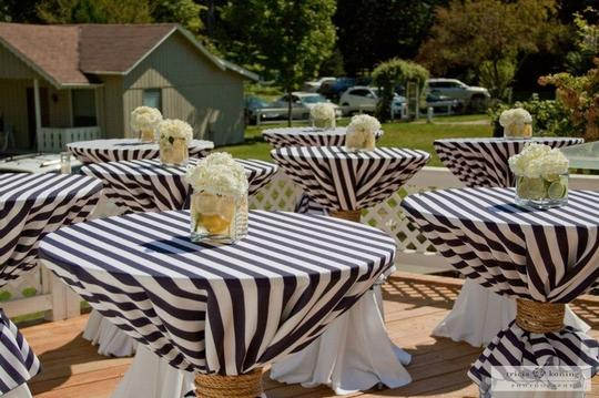 Navy Blue And White Striped 6 Nautical Round Tablecloth
