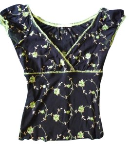 Forever 21 Embroidered Top Black, green, and cream