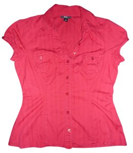 BCX Button Down Pin-stripped Button Down Shirt Red