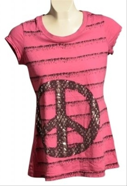 Belle du Jour Design Sleeveless Round Neck With Black And Silver Peace Sign T Shirt Pink