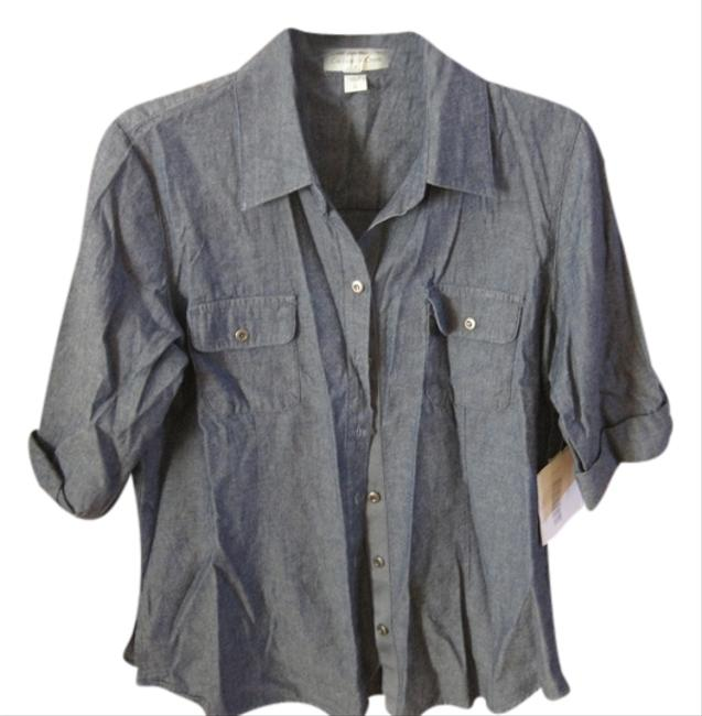 Coldwater Creek Button Down Shirt Chambray- Blue