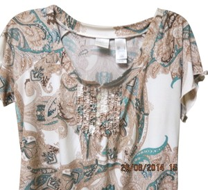 Emma James Top light camel with teal