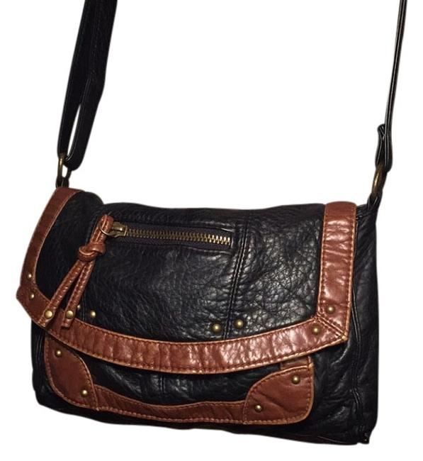 Item - Black and Brown Vegan Leather Cross Body Bag