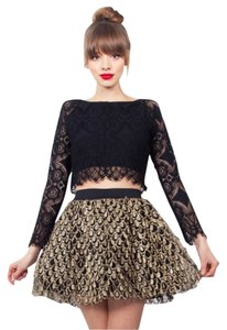 Nasty Gal Mini Skirt Black, Gold