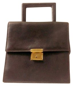 Hand Held Rich Leather Satchel in Brown