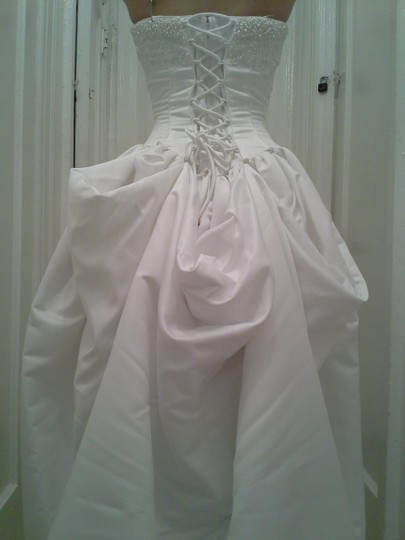 David's Bridal White Satin Couture Ball Gown Formal Dress Size 4 (S)