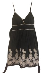 Other short dress Black Flower Embroidery Tea Bow on Tradesy