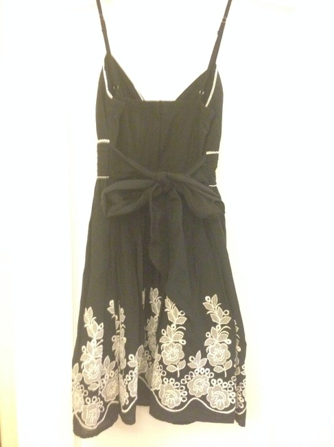Other short dress Black Sundress Flower Embroidery Tea Bow on Tradesy