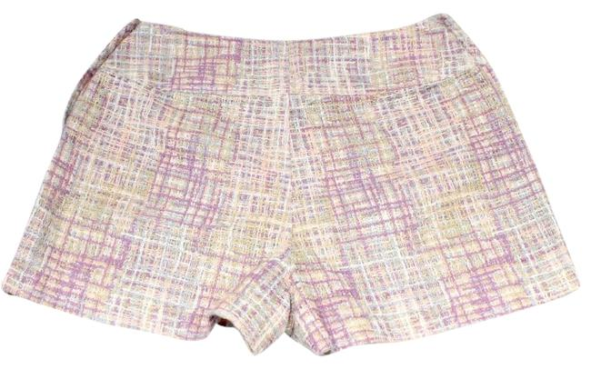 Item - Pink Signature Pastel Multi-color Tweed Boucle Waisted Summer Pant Ss14 40 Mini/Short Shorts Size 6 (S, 28)