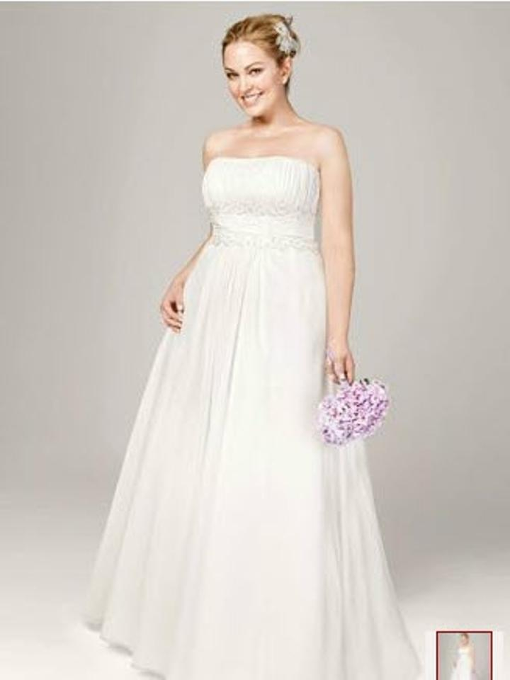 David\'s Bridal Ivory Chiffon A-line with Beaded Lace On Empire Style ...
