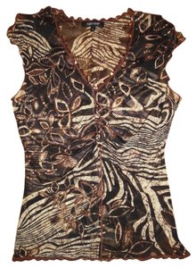 Karen Kane Stretchy Sparkly Sequins Floral Sheer Top Black, Brown, Ivory