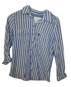 Abercrombie & Fitch Button Down Shirt Blue & White Stripe