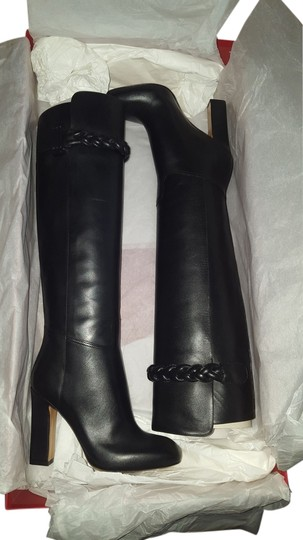 Valentino Calfskin Heel 100mm Made In Italy Black Boots Image 0