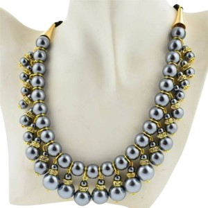 Other New Faux Pearl Bib Necklace Gray Gold Dangle Ribbon Tie J1965