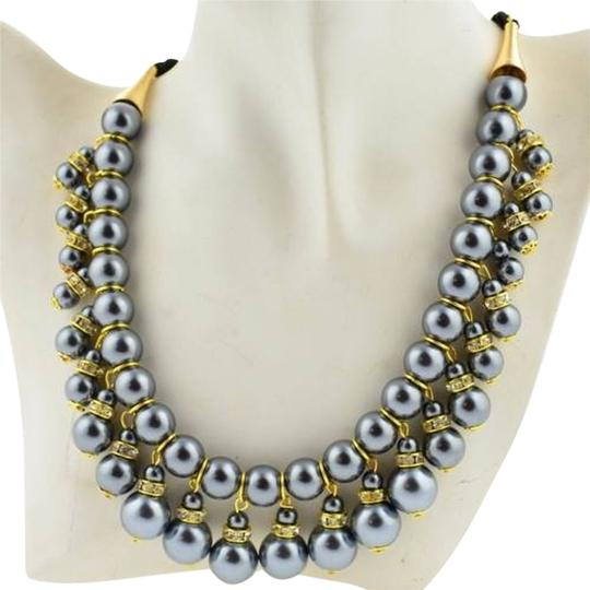 New faux pearl bib necklace gray gold dangle ribbon tie for Ribbon tie necklace jewelry