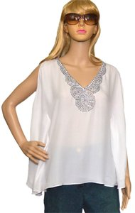 BCBG Top white / Silver silk