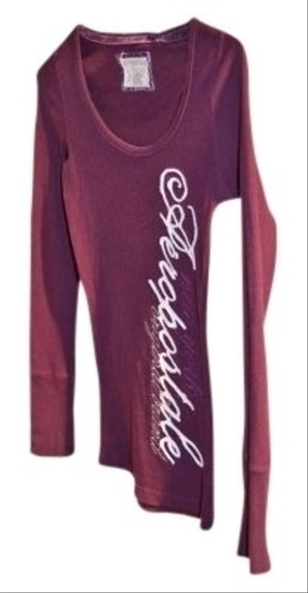 Aeropostale Stretch Long-sleeved Size S/p Round Neck Thermal Fabric In Color With '' In White Brand' Embroidered In And New York T Shirt Plum