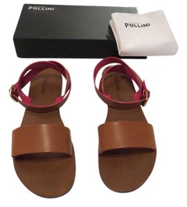 Studio Pollini Sa16681c0zrn020b Ankle Wrap Strap Contrast Peek-a-boo Design Made In Italy Brown Sandals