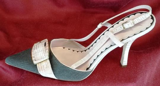 J Vincent Slingback Leather Lined Pointed Toe Made In Brazil Chocolate Brown and Pink Pumps Image 1