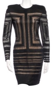 Balmain Black Crochet-Knit Mini Dress Dress