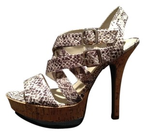 Wild Pair White & brown Snake Print Sandals