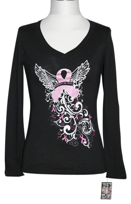 "Item - Black/Pink New with Tags Misses Small "" Support The Cure "" Long Sleeve Tee Shirt Size 6 (S)"