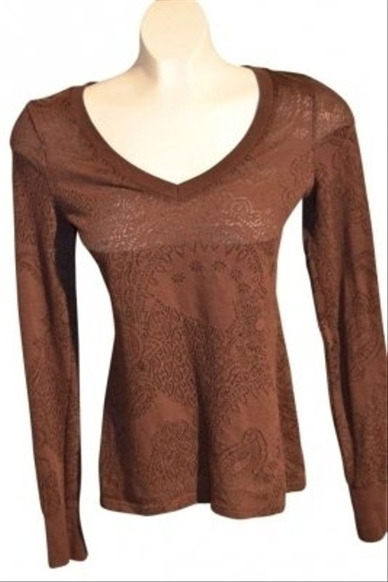 BKE V-neck Size S Brown In Color Pattern Throughout In Black Stretch Semi-sheer Fabric True Color Is Much Darker Than - Top