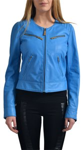 Just Cavalli Blue Leather Jacket