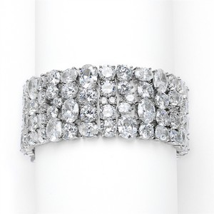 Silver/Rhodium Hollywood Glamour Statement Crystal Bracelets