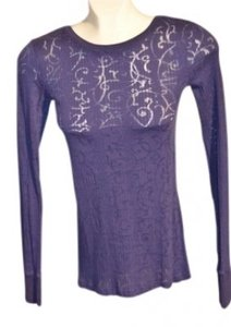 BKE Round Neck Size M Color Semi- Sheer Stretchy Fabric Pattern On Fabric Throughout;note Color Is Photo Looks Top Dark Blue