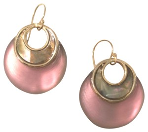 Alexis Bittar Gold Pop Surrealist Lucite & Mother-of-pearl Round Drop Earrings