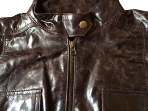 Nine West Leather Brass Snaps Vintage Look Chocolate Leather Jacket