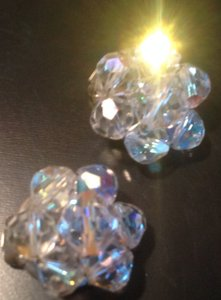 Vintage 1950's Crystal Earrings (round)