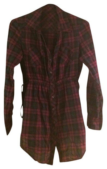 Forever 21 Button Down Shirt blk burgundy