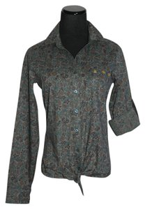 Love, Fire Button Down Shirt Forest Green Floral