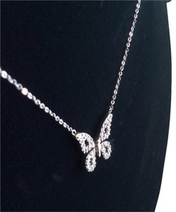 14k White Gold Diamond Butterfly Pendant Necklace