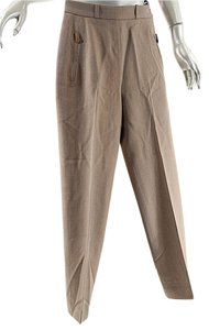 Hermès Twill Wool Straight Pants Brown & Cream