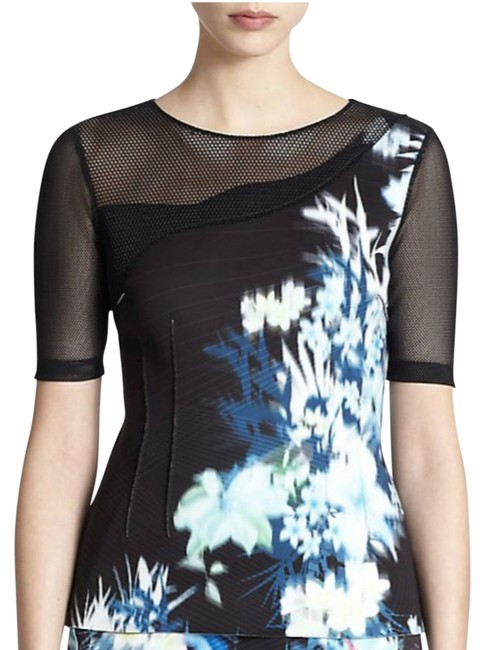 Elie Tahari Abstract Floral Mesh Blouse Size 16 (XL, Plus 0x) Elie Tahari Abstract Floral Mesh Blouse Size 16 (XL, Plus 0x) Image 1