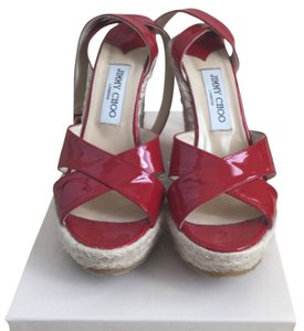 Jimmy Choo Patent Sandals Espadrilles Summer Sandals Patent Red Wedges