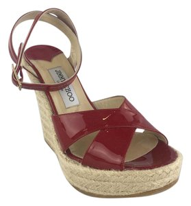 Jimmy Choo Sandals Espadrilles Summer Sandals Patent Red Wedges