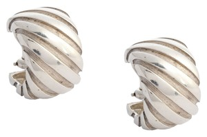 Tiffany & Co. Sterling Silver Ribbed Atlas Clip Earrings