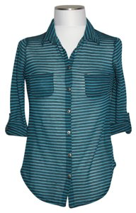 eye candy Button Down Shirt Black/Teal