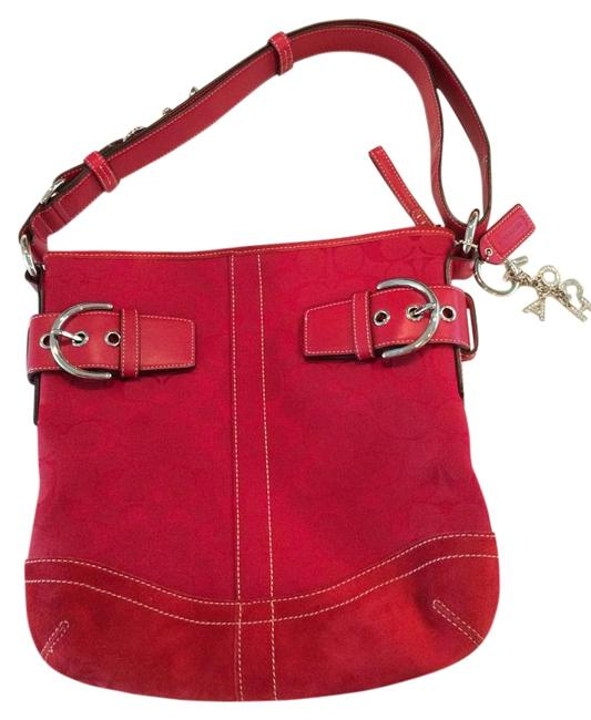 Coach #f05k-3574 Suede Red Canvas and Leather Hobo Bag Coach #f05k-3574 Suede Red Canvas and Leather Hobo Bag Image 1