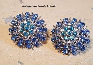 Gorgeous Blue Crystal Cluster Earrings For Wedding