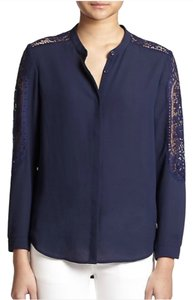 The Kooples Lace Trim Dryclean Only Top Navy