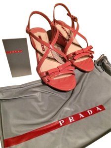 Prada Wedges Strappy Wedge Summer Geranio (Pinky-Salmon) Sandals