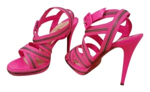 Christian Louboutin Zipper Red Soles Special Edition Hot Pink Sandals